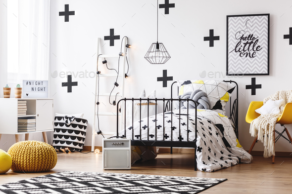 Wallpaper with crosses in bedroom - Stock Photo - Images