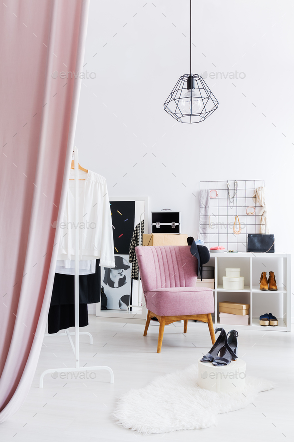 White and spacious dressing room - Stock Photo - Images