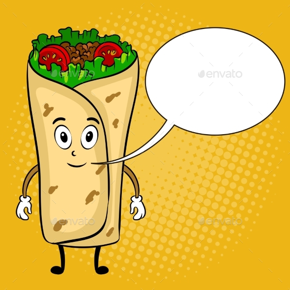 Burrito Cartoon Pop Art Vector Illustration - Food Objects
