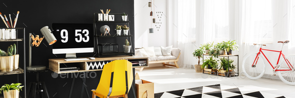 Open space apartment with study - Stock Photo - Images