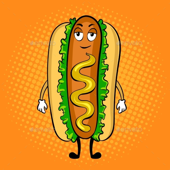 Hot Dog Cartoon Pop Art Vector Illustration - Food Objects