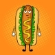 Hot Dog Cartoon Pop Art Vector Illustration - GraphicRiver Item for Sale