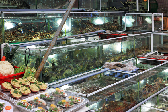 Night fish market in Phu Quoc island - Stock Photo - Images