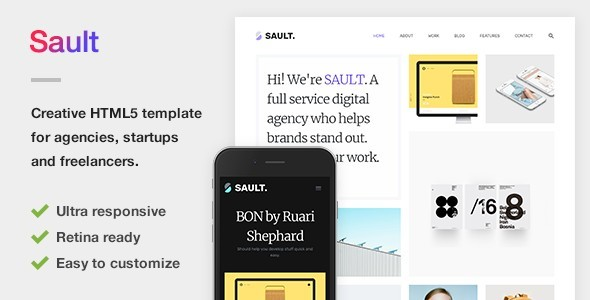 Sault - Creative Portfolio HTML5 Template for Agencies, Startups & Freelancers - Portfolio Creative