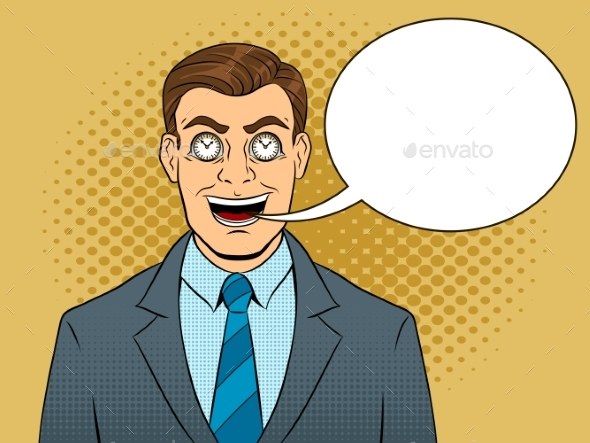 Businessman with Clock in Eyes Pop Art Vector - Business Conceptual