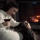 Sexy Brunette By the Fireplace with a Hunting Dog - VideoHive Item for Sale