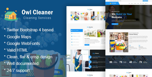 Image of Owl Cleaner -  Cleaning Services HTML Website Template