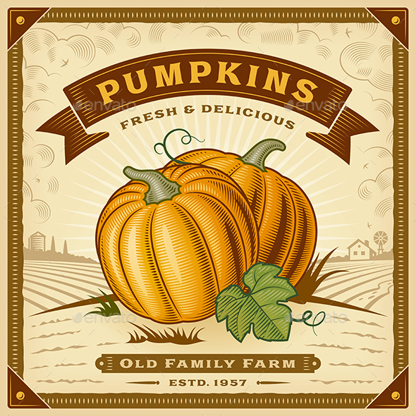 Retro Pumpkin Harvest Label With Landscape - Food Objects