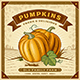 Retro Pumpkin Harvest Label With Landscape - GraphicRiver Item for Sale