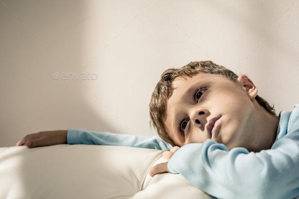 Portrait of a young sad boy. - Stock Photo - Images