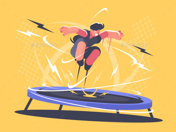 Athlete Jumping on Trampoline - People Characters