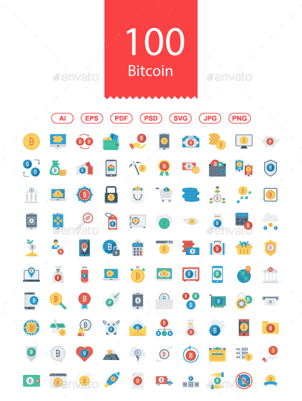 100 Bitcoin, Blockchain & Cryptocurrency Flat icons - Business Icons