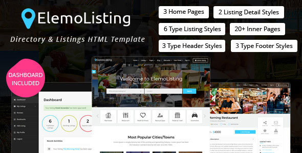 Image of ElemoListing - Directory & Listings HTML Template