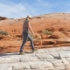 Hiking Woman Walking on the Desert at Red Rocks Canyon - VideoHive Item for Sale
