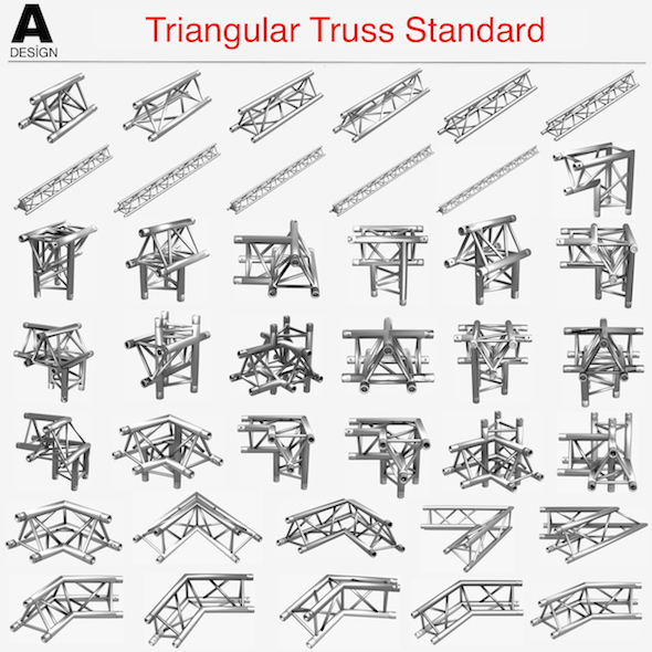 Triangular Truss Standard (Collection 41 Modular Pieces) - 3DOcean Item for Sale