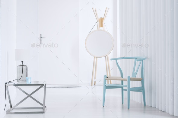 Hall with blue wooden chair - Stock Photo - Images