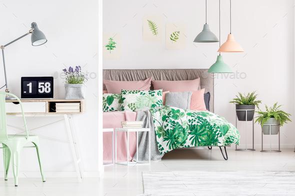Desk in bedroom - Stock Photo - Images