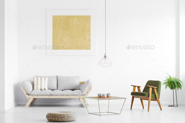 Grey sofa in living room - Stock Photo - Images