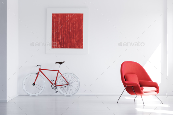 Red bike in empty space - Stock Photo - Images