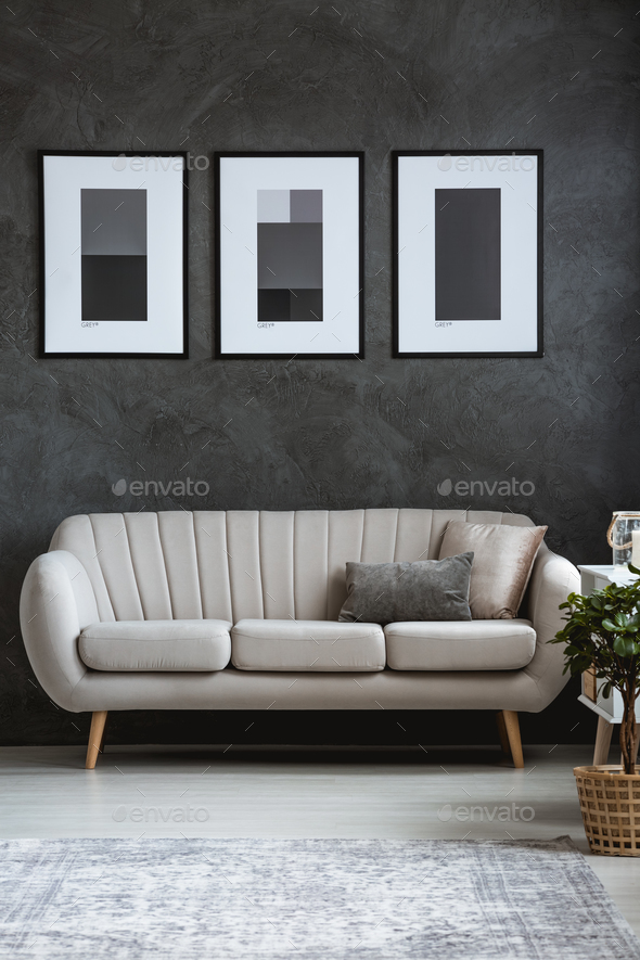 Sophisticated living room with sofa - Stock Photo - Images
