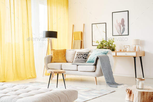 Posters in cozy living room - Stock Photo - Images
