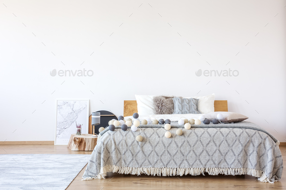 Bed with cotton balls - Stock Photo - Images