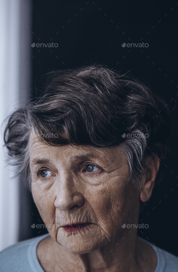 Old grandmother's face with wrinkles - Stock Photo - Images