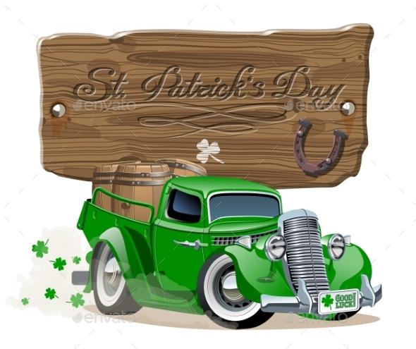 Vector Saint Patrick's Retro Cartoon Beer Pick-up - Man-made Objects Objects