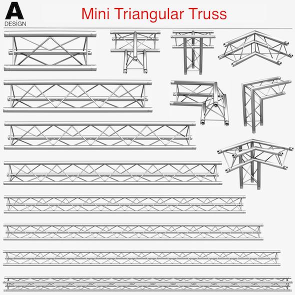 Mini Triangular Truss (Collection 14 Modular Pieces) - 3DOcean Item for Sale