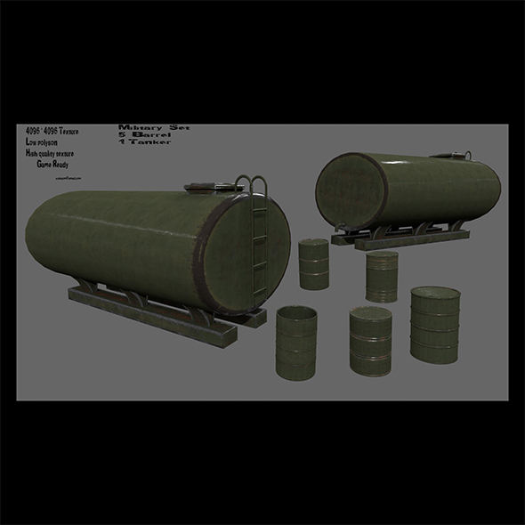 military barrel set - 3DOcean Item for Sale
