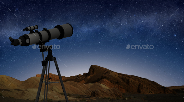 telescope on a tripod pointing at starry night sky - Stock Photo - Images