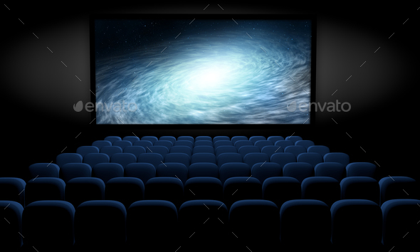 science fiction film in empty movie theater, 3d illustration - Stock Photo - Images