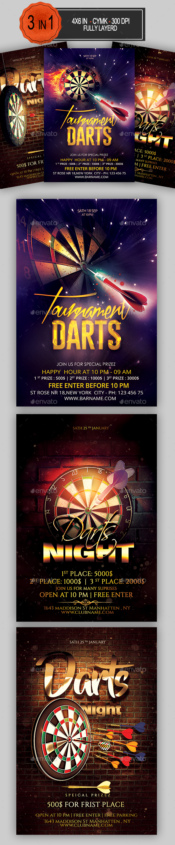 Darts Flyer Bundle - Sports Events