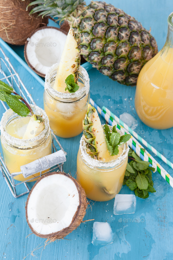 Pineapple and coconut cocktail - Stock Photo - Images
