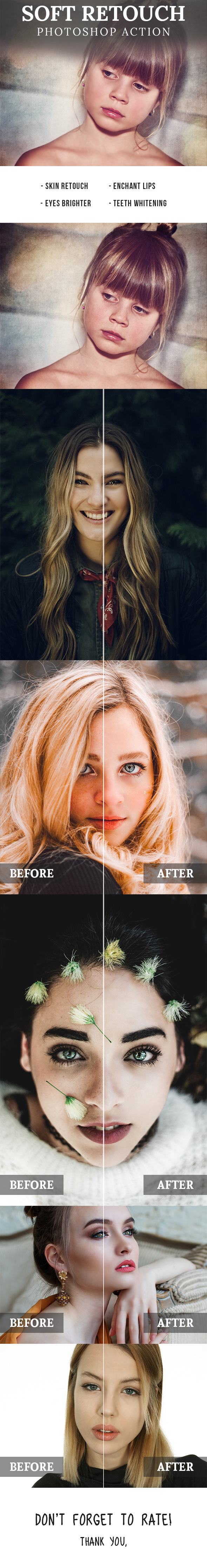 Soft Retouch Photoshop Action - Photo Effects Actions