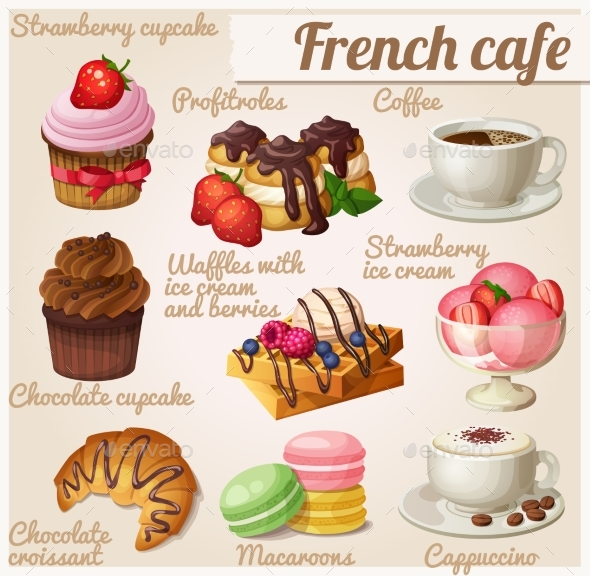 Set of Food Icons. French Cafe Illustration - Food Objects