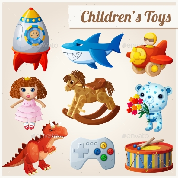Set of Kids Toys. Part 2 - Objects Vectors