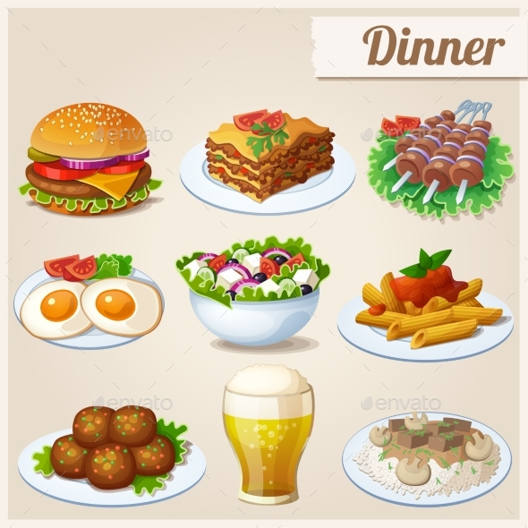 Set of Food Icons. Dinner. - Food Objects