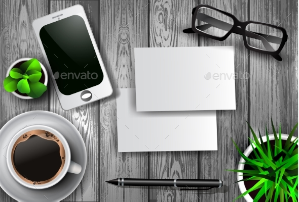 Modern Workspace Vector Set with Stationery - Man-made Objects Objects
