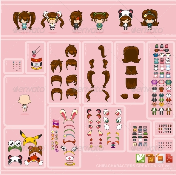 Chibi Characters Creation Kit vol. 1 - Characters Vectors