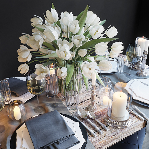 Table setting with white tulips - 3DOcean Item for Sale