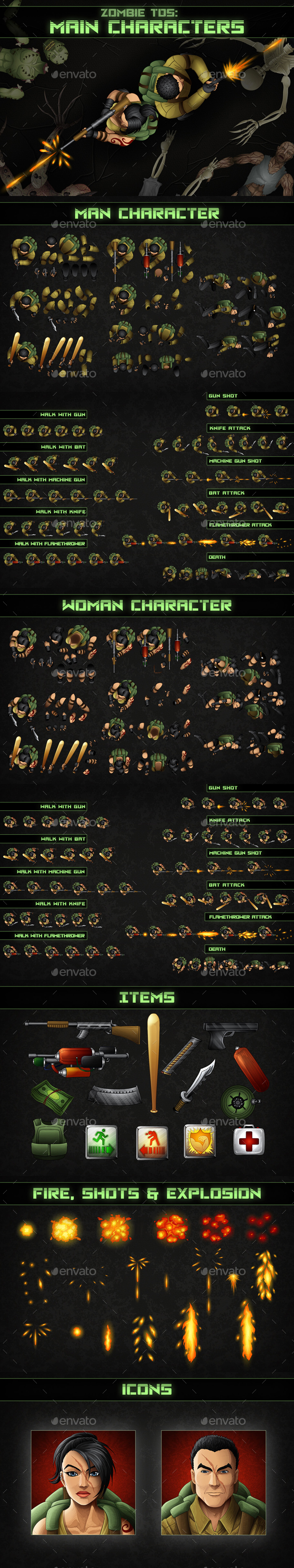 Top-Down Shooter: Main Characters - Sprites Game Assets