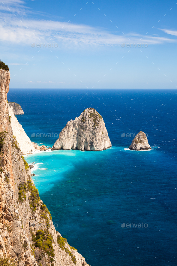 Keri cliffs in Zakynthos (Zante) island in Greece - Stock Photo - Images