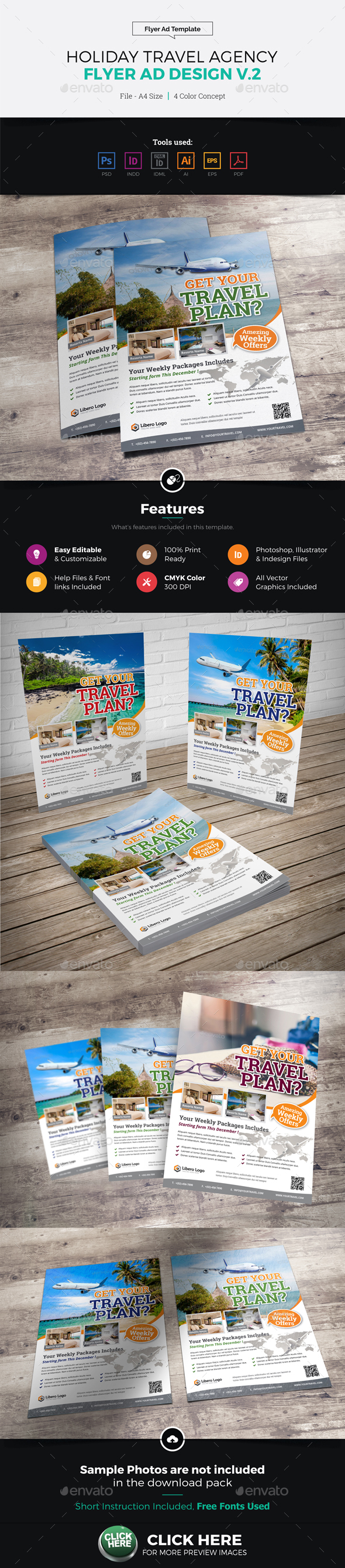 Travel Agency Flyer Ad Design v2 - Corporate Flyers