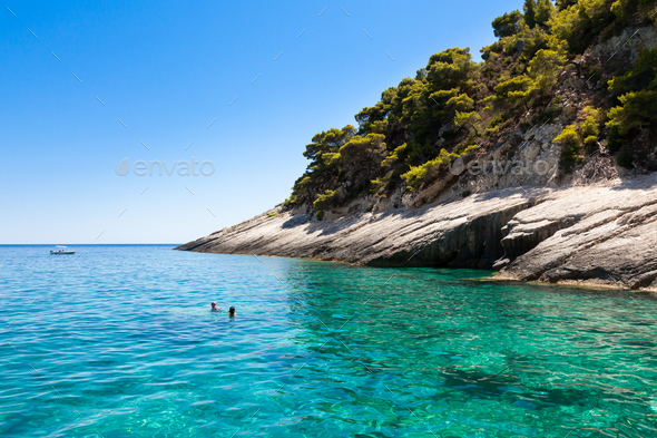 View of  Keri blue caves  in Zakynthos (Zante) island, in Greece - Stock Photo - Images