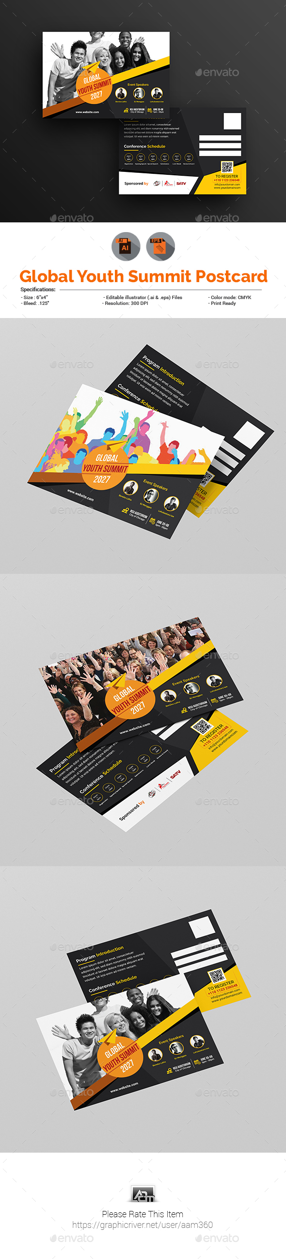 Global Youth Summit Postcard Template - Cards & Invites Print Templates