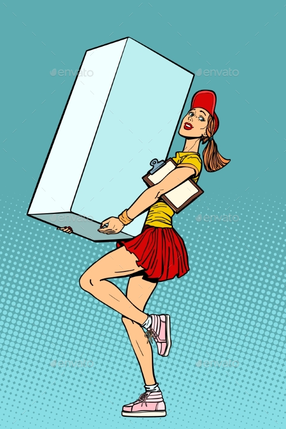 Woman Courier Shipping Box, Delivery Service - Business Conceptual