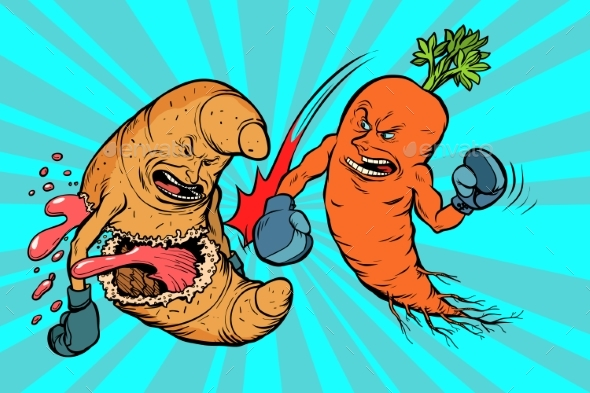 Carrots Beats a Croissant, Vegetarianism Vs Fast - Food Objects