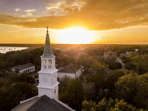 Aerial view of historic church steeple and sunset in Beaufort, S - Stock Photo - Images