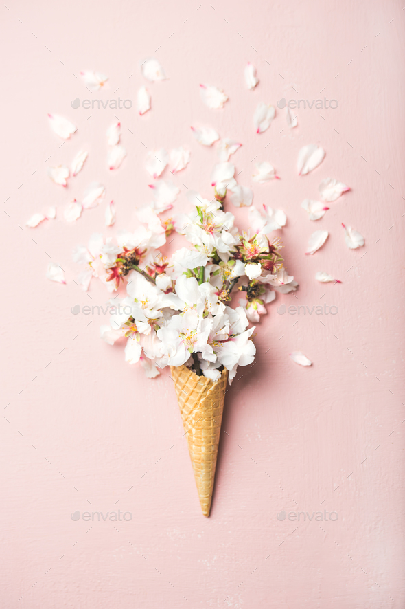 Waffle cone with white almond blossom flowers - Stock Photo - Images